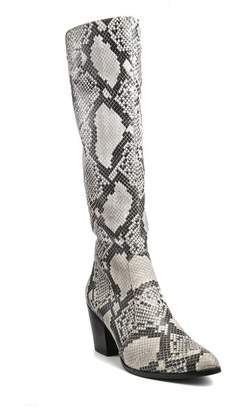 Catherine Malandrino Rizzo Vegan Leather Snake Embossed Tall Boot