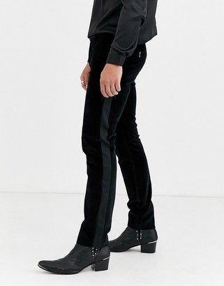Twisted Tailor super skinny velvet trousers with sateen side stripe in black