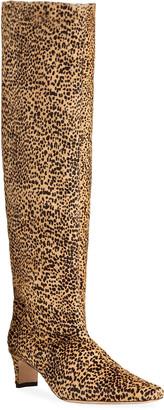 STAUD Wally Animal-Print Fur Knee Boots