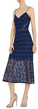 ML Monique Lhuillier Floral Crochet Midi Dress