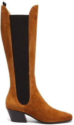 KHAITE Chester Suede Knee-high Boots - Tan