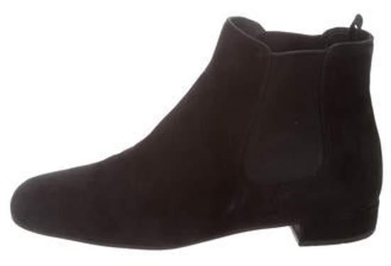 Prada Suede Square-Toe Ankle Boots Black Suede Square-Toe Ankle Boots