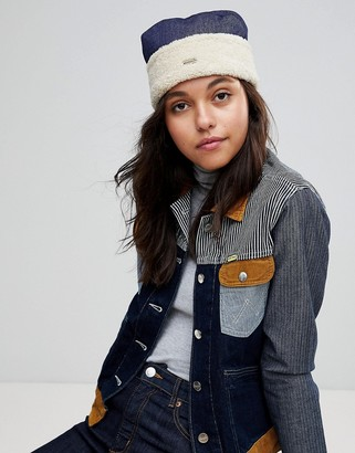 Kangol Cossack Hat in Denim and Faux Shearling-Blue
