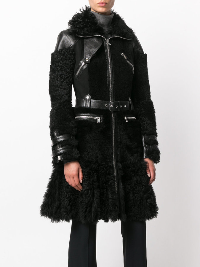 Alexander McQueen shearling biker coat