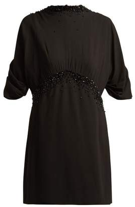 Prada Embellished Crepe Dress - Womens - Black