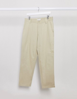 Topman wide leg cropped pants in stone