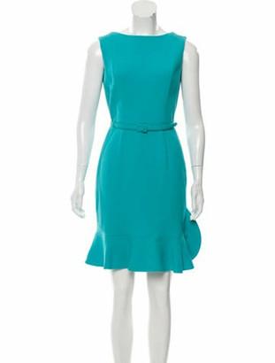 Oscar de la Renta 2017 Virgin Wool Dress Aqua