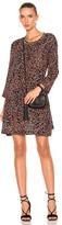 Raquel Allegra Long Sleeve Bell Dress in Animal Print,Black,Orange.