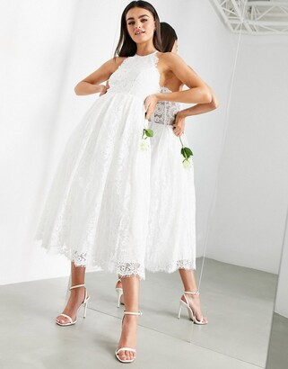Asos Edition EDITION lace halter neck midi wedding dress