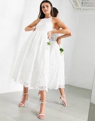 Asos EDITION lace halter neck midi wedding dress