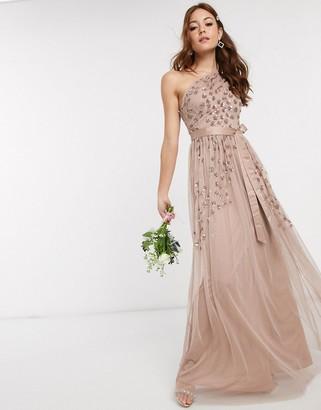 Maya one shoulder embellished maxi dress in taupe blush