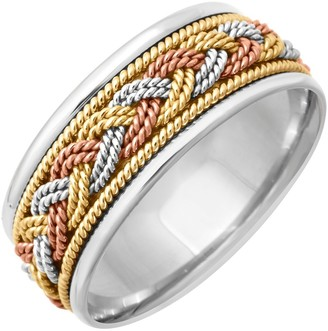 Wedding Rings Depot 18k Tri-Color Gold Braided Design Comfort Fit Women's Wedding Bands