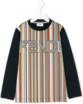 Fendi logo striped print top