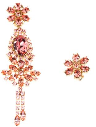 Burberry Pink Flower Crystal Gold Tone Clip-on Asymmetric Stud Drop Earrings