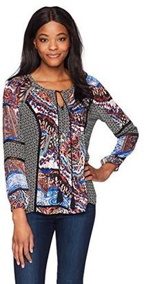 Daniel Rainn Women's Long Sleeve Mixed Print Boho Blouse Top