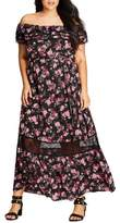 City Chic Plus Size Women's Free Love Floral Off The Shoulder Maxi Dress