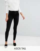 Asos TALL RIDLEY High Waist Skinny Jeans in Clean Black