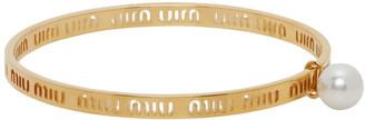 Miu Miu Gold Metal Logo Bracelet