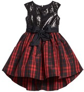 Girl's Pippa & Julie Sequin & Plaid Taffeta Dress