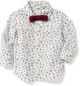 Old Navy Printed Dress Shirt & Bow-Tie Set for Baby