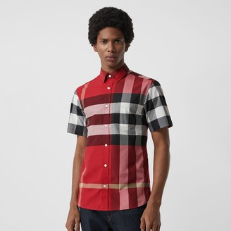 Burberry Short-seeve Check Stretch Cotton Shirt