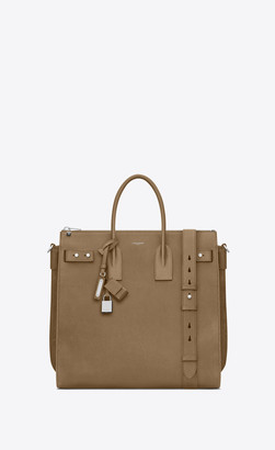Saint Laurent Sac De Jour North/south Tote In Grained Leather Khaki Onesize