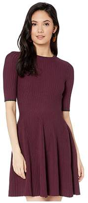 Ted Baker Renyina Stitch Detail Knitted Skater Dress (Deep Purple) Women's Clothing