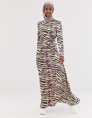 Asos DESIGN maxi dress with tie waist in zebra print