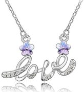 Dahlia Letter Love Cherry Blossom Shaped Swarovski Elements Crystal Rhodium Plated Necklace