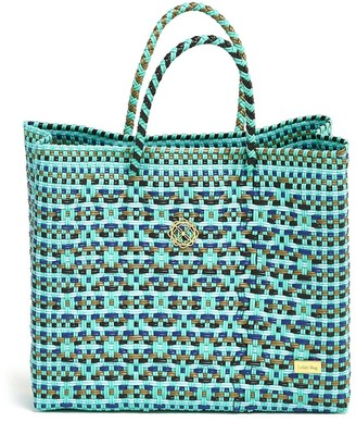 Lolas Bag Small Turquoise Patterned Tote Bag