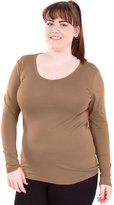 Clothes Effect Woman Plus Size Round V-Neck Long Sleeve T-Shirt