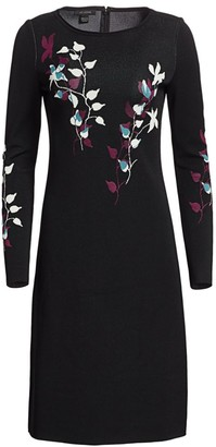 St. John Placed Floral Jacquard A-Line Dress