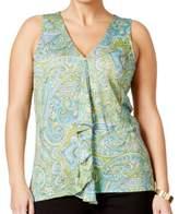 Michael Kors Blue Women's Size 1X Plus Printed V-Neck Blouse