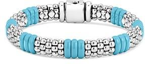 Lagos Sterling Silver Caviar Blue Ceramic Signature Bracelet