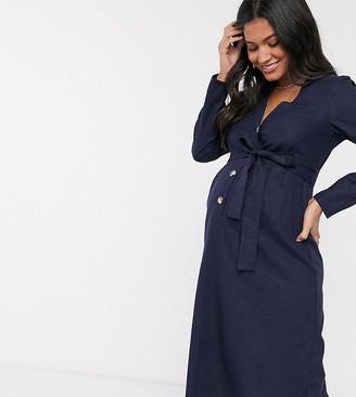ASOS DESIGN Maternity button through linen midi dress with self belt in navy