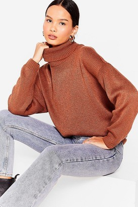 Nasty Gal Womens Show 'Em How Knits Done Turtleneck Sweater - Rust