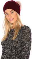 Hat Attack Slouchy Cuff Beanie with Dyed Fox Fur Pom in Wine.