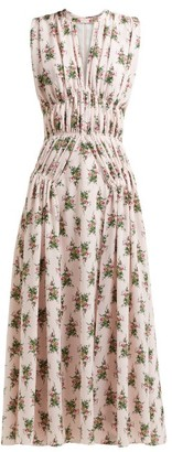 Emilia Wickstead Marguerite Floral-print Crepe Midi Dress - Womens - Pink Print
