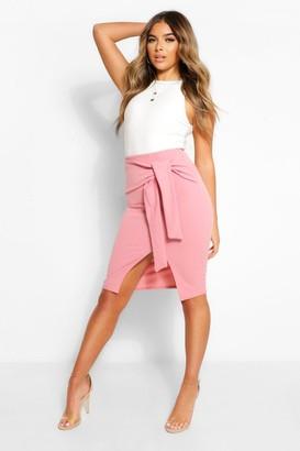 boohoo Petite Tie Waist Wrap Midi Skirt