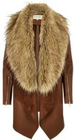 River Island Womens Brown faux fur fallaway coat