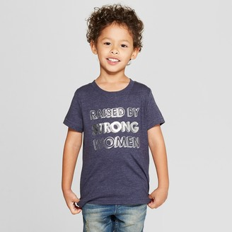 Cat & Jack Toddler Boys' Raised by Strong Women Short Sleeve T-Shirt - Cat & JackTM Navy 12M