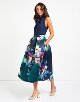 Closet High Neck Floral Midi Dress