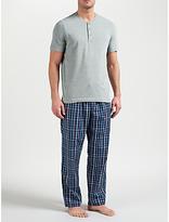 John Lewis Hythe Check Trousers And Grandad T-shirt Lounge Set, Grey/blue