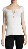 Bailey 44 Lace Up Cap Sleeve Top