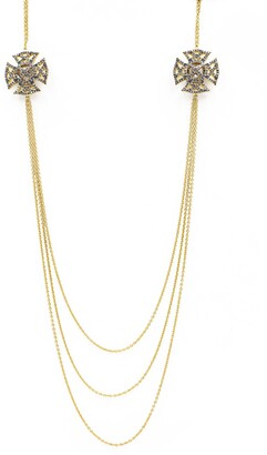 Freida Rothman Maltese Pave Strike Shield Layered Necklace