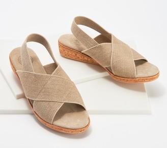 Charleston Shoe Co. Linen Cross-Strap Demi-Wedges - Atlantic
