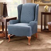 Sure Fit Stretch Stripe T-Cushion Wingback Slipcover