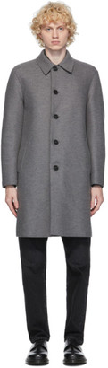 Harris Wharf London Grey Boiled Wool Mac Coat