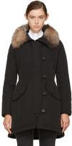 Moncler Black Down & Fur Arehdel Coat