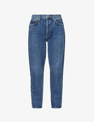 AGOLDE Women's Air Blue Riley Straight Cropped Mid-Rise Jeans, Size: 29